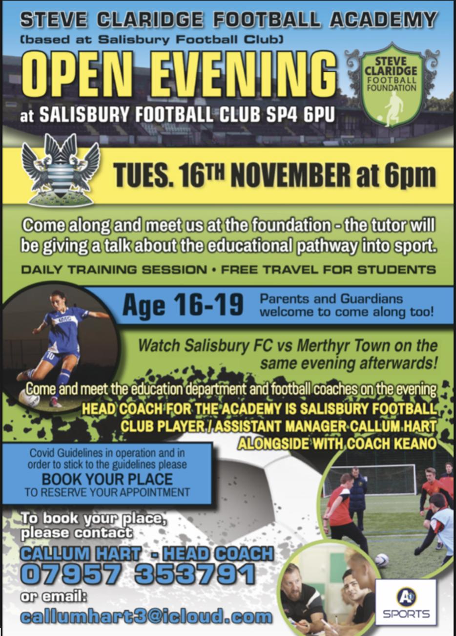 "Featured image for ""Steve Claridge Football Academy Open Evening – 16th Nov 2021"""